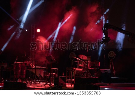 Empty Stage Before A Concert, scene red light.