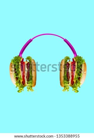 Music tastes so delicious. Pink headphones with burgers as a dynamics against light blue background. Modern art collage. Negative space. Contemporary pop design. Tasty food and juicy sound concept. #1353388955