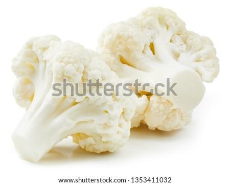 Cauliflower isolated on white background. Ripe fresh cauliflower Clipping Path #1353411032