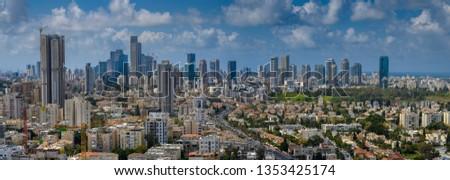 Panoramic  cityscape of  Tel Aviv skyscrapers, Israel #1353425174