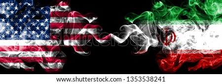 United States of America vs Iran, Iranian smoky mystic flags placed side by side. Thick colored silky smoke flags of America and Iran, Iranian. #1353538241