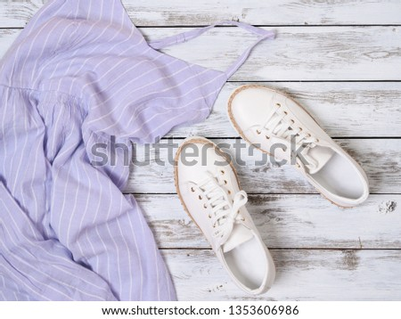 Womens clothing, shoes (lavender dress, white leather sneakers). Fashion outfit, spring summer collection. Shopping concept. Flat lay, view from above #1353606986