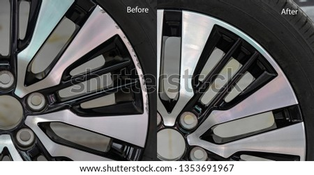 Repairing alloy wheels with metal shadows, before repairing and after repairing Royalty-Free Stock Photo #1353691967