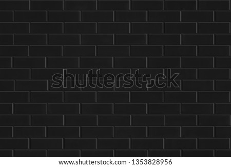 black brick tile wall or ceramic subway texture for background #1353828956