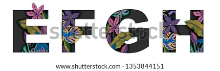 tropical flowers alphabet fonts  #1353844151