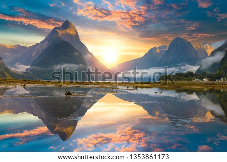 Famous Mitre Peak rising from the Milford Sound fiord. Fiordland national park, New Zealand #1353861173