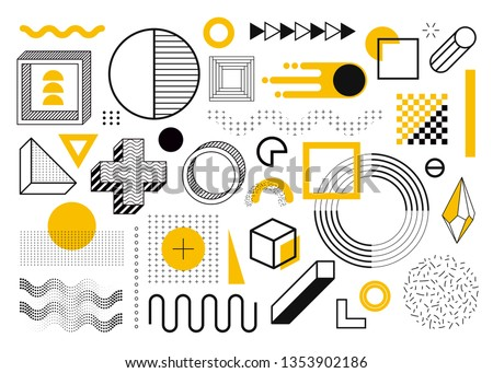 Mega set of memphis design elements, template for your project. Big colorful vector collection Royalty-Free Stock Photo #1353902186