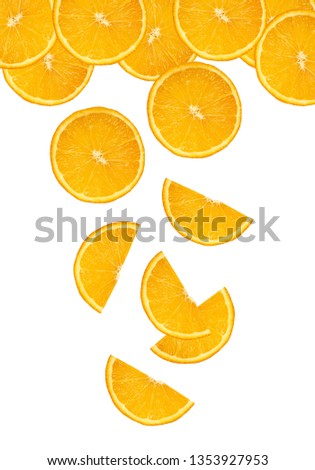 round and half orange slices fall on a white background #1353927953
