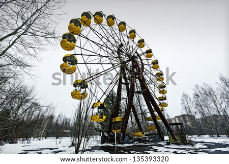 PRIPYAT, UKRAINE - MARCH 15: General view of Pripyat, the abandoned city near Chernobyl on March 15, 2013 in Pripyat, Ukraine. A nuclear disaster happened here after reactor nr 4 exploded 27 years ago #135393320