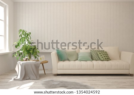 Stylish room in white color with sofa. Scandinavian interior design. 3D illustration #1354024592