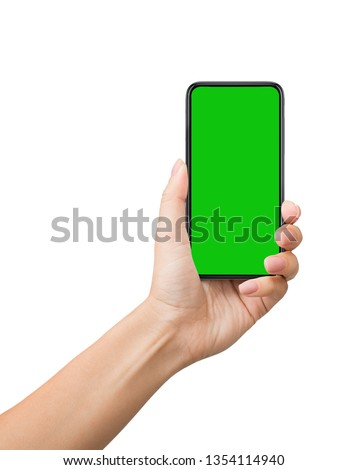 Man using smartphone with chroma key screen for video presentation, isolated on white background