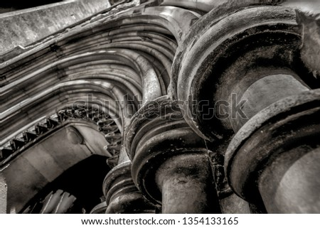 architectural details,showing an abstract view of the entrance to saint marys church, andover,england. #1354133165
