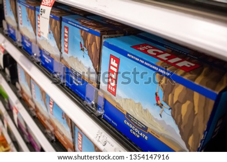 Cypress, California/United States - 03/19/19: Several Clif Bar products on a shelf at a grocery store #1354147916
