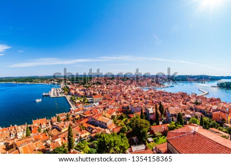 Panoramic aerial view from the bell tower to historical centre of Rovinj, Istria, Croatia. #1354158365
