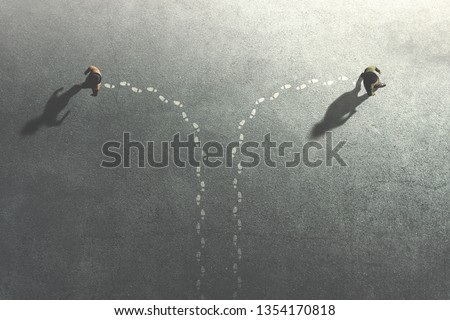 two men change their common route taking different ways, surreal concept #1354170818