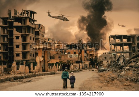 Two homeless little girl walking in destroyed city, soldiers and helicopters and tanks are still attacking the city #1354217900