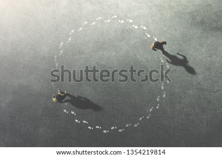 two men following themselves in circle surreal concept #1354219814