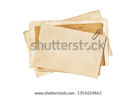 Empty old yellowed paper layout for vintage photo or postcard isolated on white background