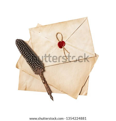 Vintage composition with yellowed letter in envelope and luxury quill pen isolated on white background #1354224881