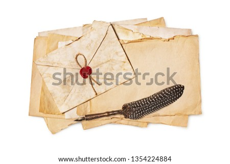 Vintage composition with yellowed letters in envelope and luxury quill pen isolated on white background #1354224884