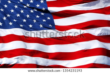 An American flag waving in the wind. #1354231193
