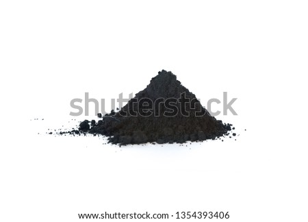 Graphite powder is generally used as lubricant. Isolated on white. #1354393406