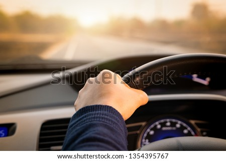 Safe drive, speed control and security distance on the road, driving safely #1354395767