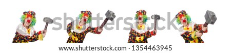 Clown with hammer isolated on white #1354463945