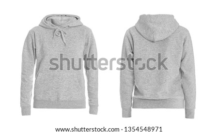 Set of stylish hoodie sweater on white background, front and back view. Space for design  #1354548971