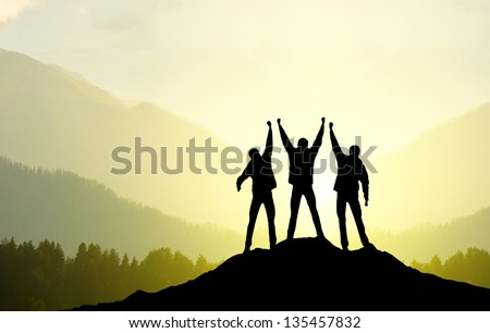 Silhouette of a team. Sport and active life #135457832