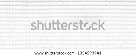 Close-up photos of white brick texture details background. House, shop, cafe and office design backdrop. Paint brickwork wall and copy space. #1354593941