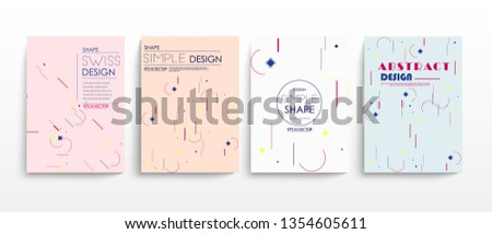 stock vector placard templates set with abstract shapes memphis geometric style flat and line #1354605611