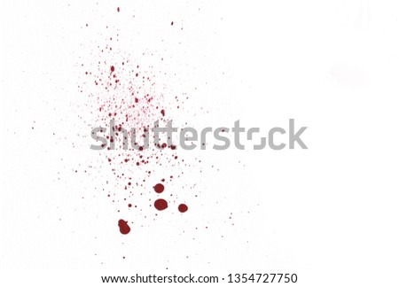 Blood splatters on white background #1354727750