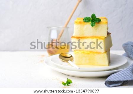 Custard Pudding, Delicious Custard Dessert Served with Honey, Homemade Semolina Cake #1354790897