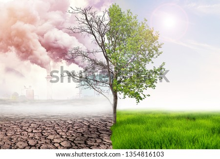 comparing green earth and effect of air pollution from human action, glbal warming concept, green tree and green earth with light and arid land with air pollusion at background #1354816103