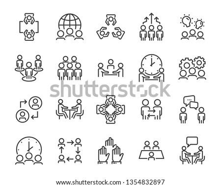 set of business people icons, such as meeting, team, structure, communication, member, group Royalty-Free Stock Photo #1354832897