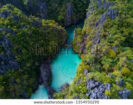 Hidden tropical paradise, El nido Philippines blue lagoon, small lagoon, big lagoon.  #1354950290