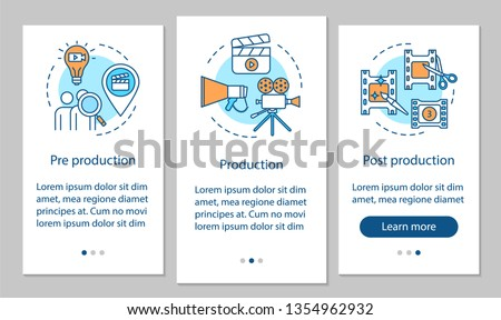 Video production onboarding mobile app page screen vector template. Film making process. Cinematography. Walkthrough website steps with linear illustrations. UX, UI, GUI smartphone interface concept