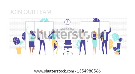 """Vector illustration. Join our team. Men and women of different nationalities in the office welcome the new employee. Holding a poster with the inscription """"employees are required"""". Flat design.  #1354980566"""