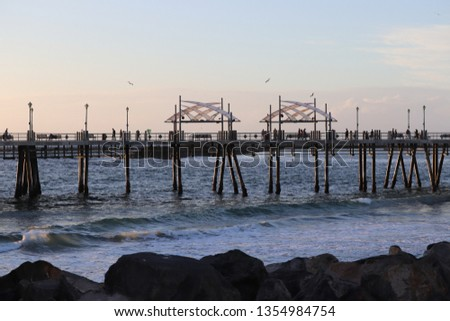beach pier boardwalk background beautiful sunset #1354984754