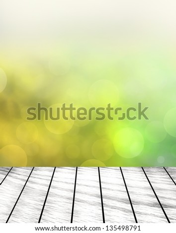 green grass with green bokeh and sunlight and wood floor #135498791