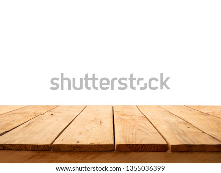 Beautiful texture wood table top texture on white background.For create product display or design key visual layout.clipping path #1355036399