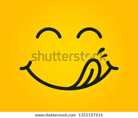 Yummy smile emoticon with tongue lick mouth. Tasty food eating emoji face. Delicious cartoon with saliva drops on yellow background. Smile face line design. Savory gourmet. Yummy vector #1355107616
