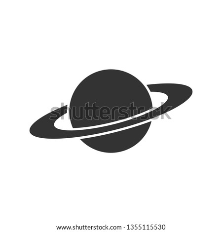 Saturn icon in flat style. Planet vector illustration on white isolated background. Galaxy space business concept.