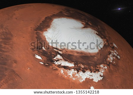 Mars planet of solar system North Pole closeup in the space. Ice water on Mars. Elements of this image were furnished by NASA