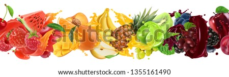 Sweet tropical fruits and mixed berries. Splash of juice. Watermelon, banana, pineapple, strawberry, orange, mango, lime, blueberry, grapes, apple. 3d vector realistic set. High quality 50mb eps #1355161490