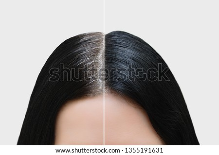 Head of a girl with black gray hair. Hair coloring. Before and after. Close-up. #1355191631