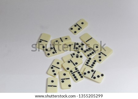 FORTALEZA, CEARA, BRAZIL - MARCH 31, 2019- Photo of a domino game spread on a white background.  #1355205299