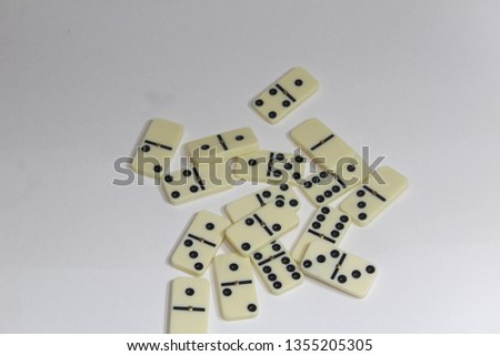 FORTALEZA, CEARA, BRAZIL - MARCH 31, 2019- Photo of a domino game spread on a white background.  #1355205305