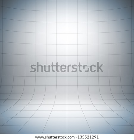 Empty white surface. A 3d illustration of blank template layout of simple stage with grid.